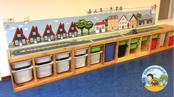 Huizenachtergrond kinderspeelmat 2