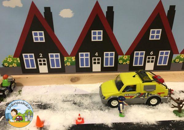Huizenachtergrond kinderspeelmat 4