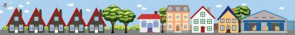 Huizenachtergrond kinderspeelmat