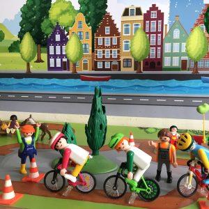 Achtergrond fiets & Stad, kinderspeelmat