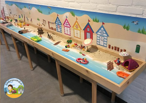 Duinenachtergrond met strandhuisjes 5 b, kinderspeelmat