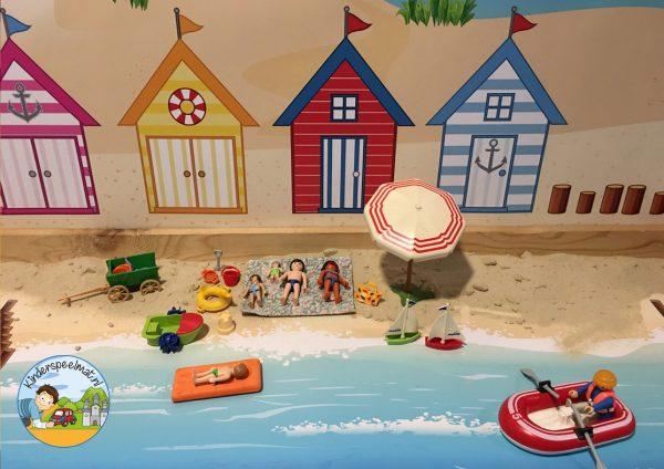 Duinenachtergrond met strandhuisjes 6 b, kinderspeelmat