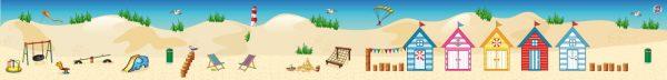 Duinenachtergrond met strandhuisjes, kinderspeelmat