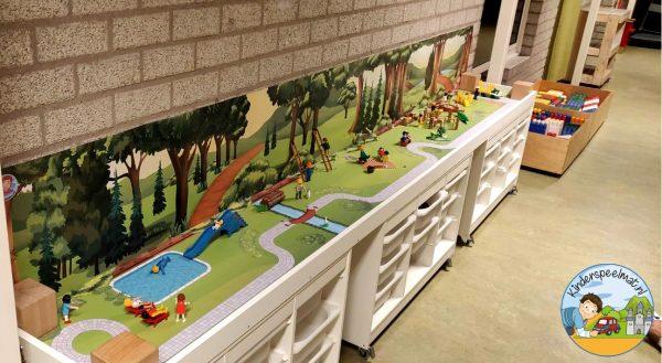 Speeltafel met Bosachtergrond en Parkmat 4, kleuteridee