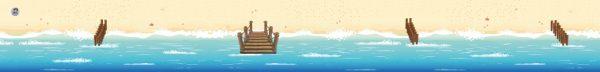 Strandmat met zee, kinderspeelmat