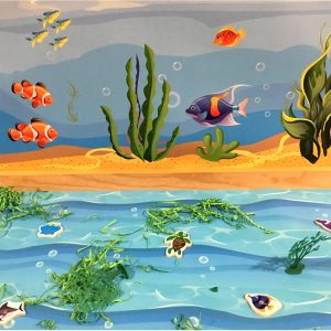 Diepzeeachtergrond, mat thema water, kinderspeelmat