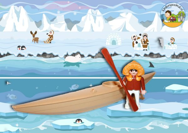 Speelmatten Noordpool Zuidpool, kinderspeelmat pinguins eskimo